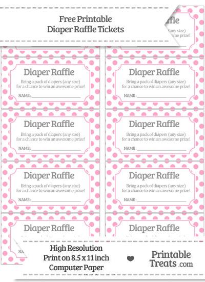 Free Carnation Pink Polka Dot Diaper Raffle Tickets