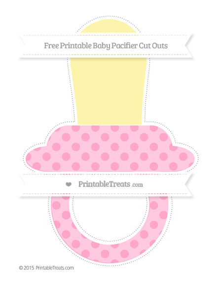 Free Carnation Pink Polka Dot Extra Large Baby Pacifier Cut Outs