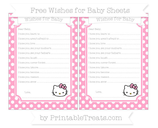 Free Carnation Pink Polka Dot Hello Kitty Wishes for Baby Sheets
