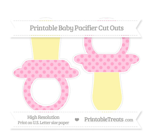 Free Carnation Pink Polka Dot Large Baby Pacifier Cut Outs