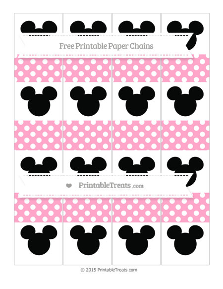 Free Carnation Pink Polka Dot Mickey Mouse Paper Chains