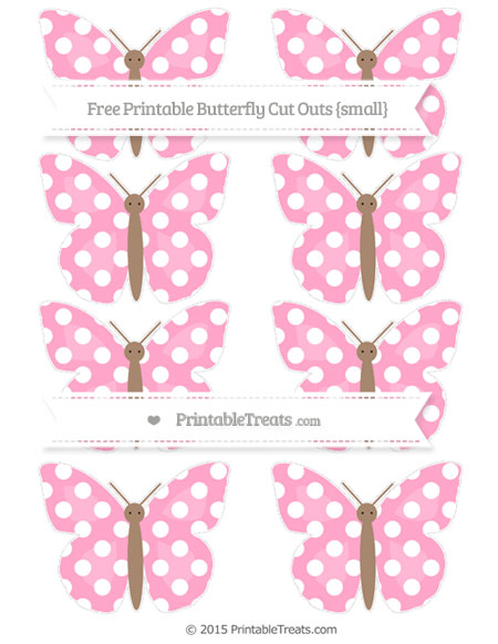 Free Carnation Pink Polka Dot Small Butterfly Cut Outs