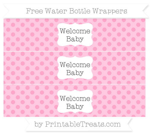 Free Carnation Pink Polka Dot Welcome Baby Water Bottle Wrappers