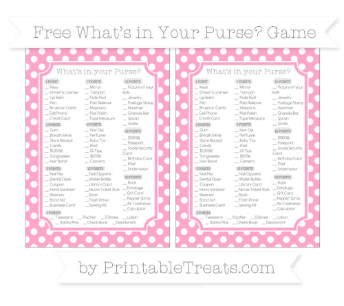 Free Carnation Pink Polka Dot What's in Your Purse Baby Shower Game