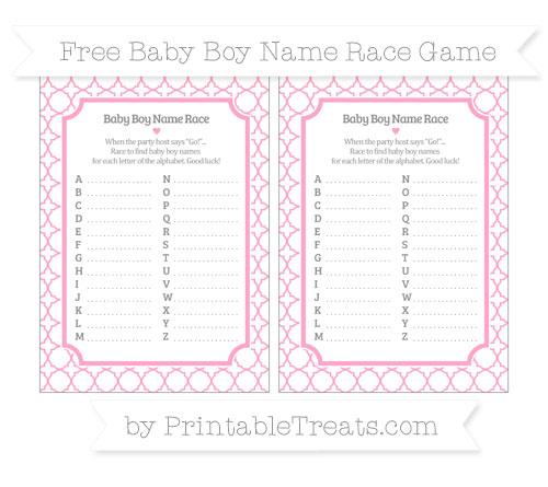 Free Carnation Pink Quatrefoil Pattern Baby Boy Name Race Game