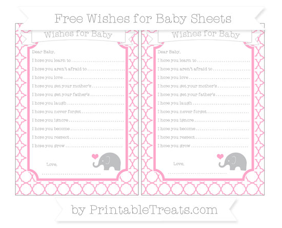 Free Carnation Pink Quatrefoil Pattern Baby Elephant Wishes for Baby Sheets