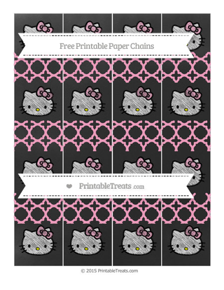 Free Carnation Pink Quatrefoil Pattern Chalk Style Hello Kitty Paper Chains