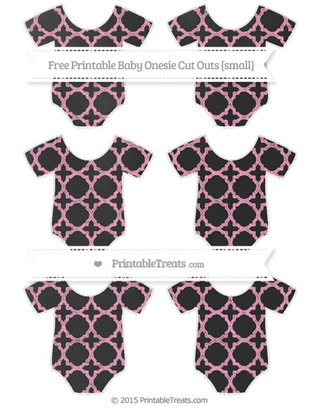 Free Carnation Pink Quatrefoil Pattern Chalk Style Small Baby Onesie Cut Outs