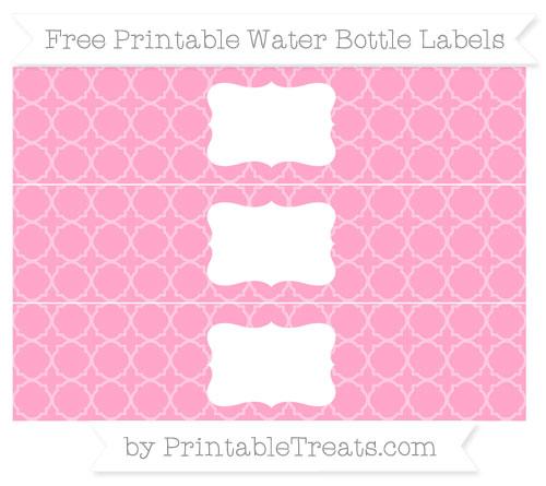 Free Carnation Pink Quatrefoil Pattern Water Bottle Labels
