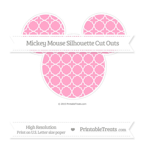Free Carnation Pink Quatrefoil Pattern Extra Large Mickey Mouse Silhouette Cut Outs