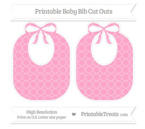 Free Carnation Pink Quatrefoil Pattern Large Baby Bib Cut Outs