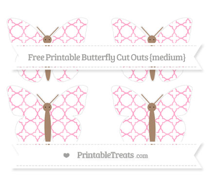 Free Carnation Pink Quatrefoil Pattern Medium Butterfly Cut Outs