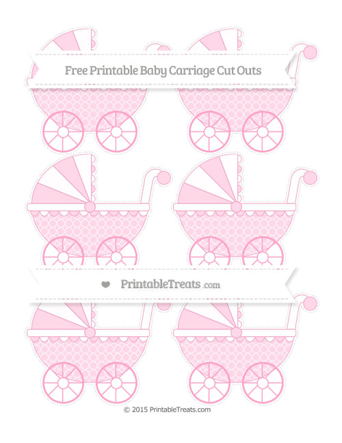 Free Carnation Pink Quatrefoil Pattern Small Baby Carriage Cut Outs