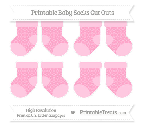 Free Carnation Pink Quatrefoil Pattern Small Baby Socks Cut Outs