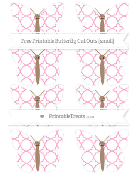 Free Carnation Pink Quatrefoil Pattern Small Smiley Butterfly Cut Outs