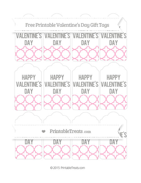 Free Carnation Pink Quatrefoil Pattern Valentine's Day Gift Tags