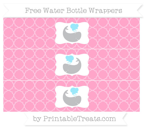 Free Carnation Pink Quatrefoil Pattern Whale Water Bottle Wrappers