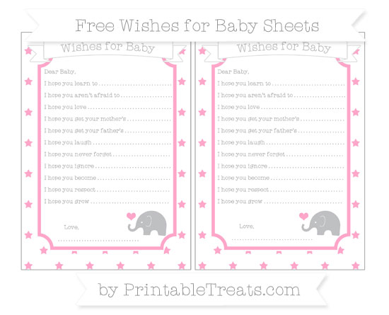 Free Carnation Pink Star Pattern Baby Elephant Wishes for Baby Sheets