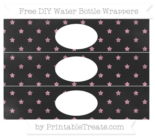 Free Carnation Pink Star Pattern Chalk Style DIY Water Bottle Wrappers