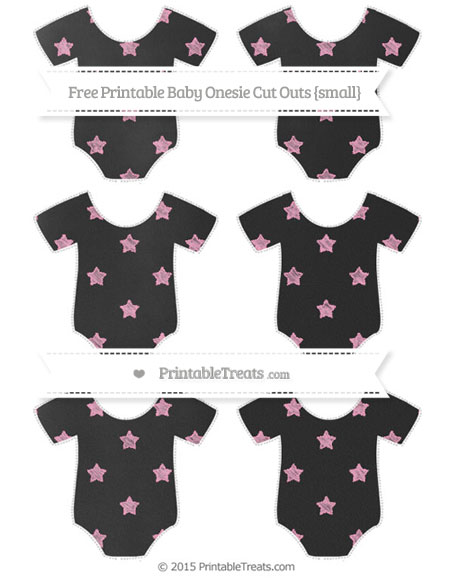 Free Carnation Pink Star Pattern Chalk Style Small Baby Onesie Cut Outs