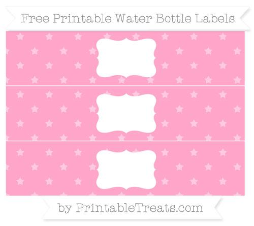 Free Carnation Pink Star Pattern Water Bottle Labels