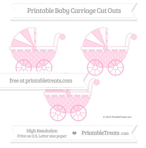 Free Carnation Pink Star Pattern Medium Baby Carriage Cut Outs