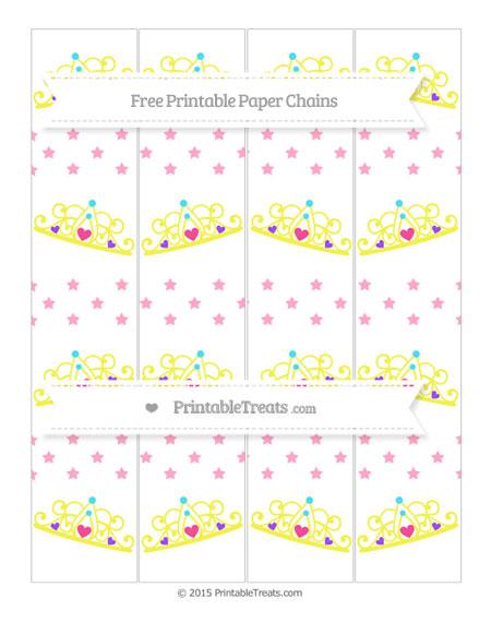 Free Carnation Pink Star Pattern Princess Tiara Paper Chains