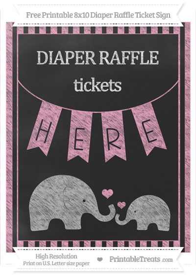 Free Carnation Pink Striped Chalk Style Elephant 8x10 Diaper Raffle Ticket Sign