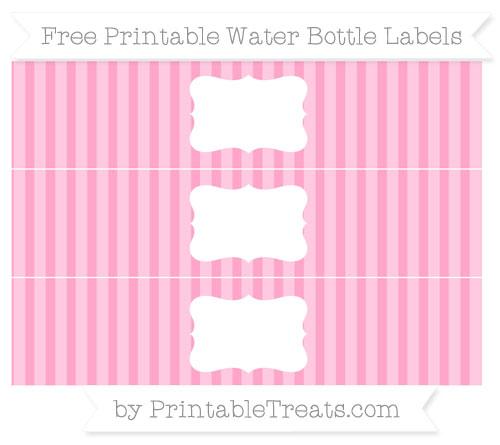 Free Carnation Pink Striped Water Bottle Labels