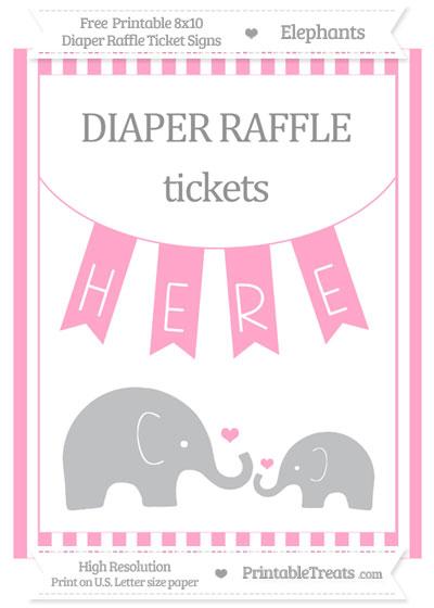 Free Carnation Pink Striped Elephant 8x10 Diaper Raffle Ticket Sign