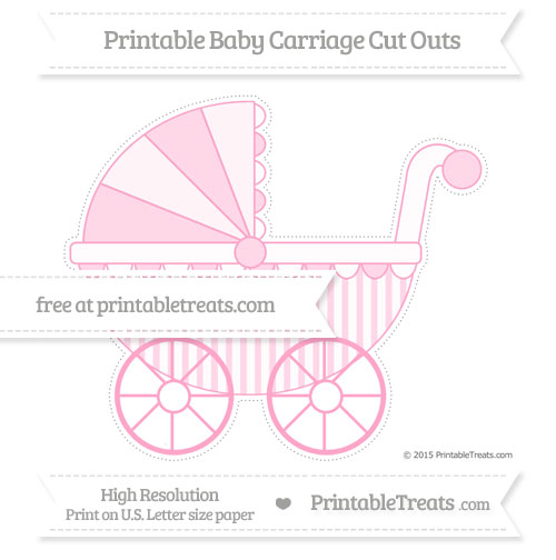 Free Carnation Pink Striped Extra Large Baby Carriage Cut Outs