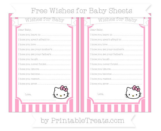Free Carnation Pink Striped Hello Kitty Wishes for Baby Sheets