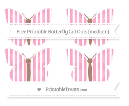 Free Carnation Pink Striped Medium Butterfly Cut Outs