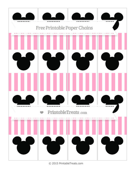 Free Carnation Pink Striped Mickey Mouse Paper Chains