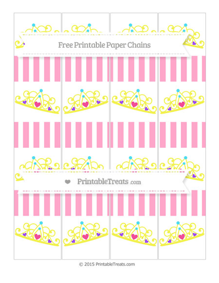 Free Carnation Pink Striped Princess Tiara Paper Chains