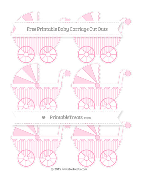 Free Carnation Pink Striped Small Baby Carriage Cut Outs