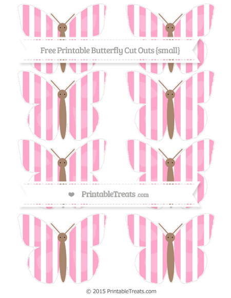 Free Carnation Pink Striped Small Butterfly Cut Outs
