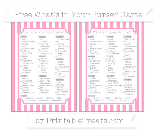 Free Carnation Pink Striped What's in Your Purse Baby Shower Game