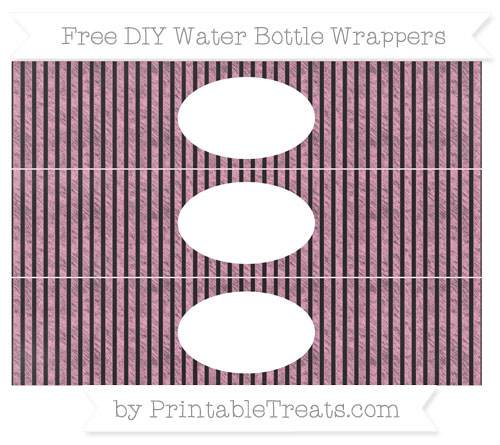 Free Carnation Pink Thin Striped Pattern Chalk Style DIY Water Bottle Wrappers
