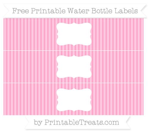 Free Carnation Pink Thin Striped Pattern Water Bottle Labels