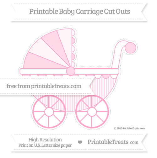 Free Carnation Pink Thin Striped Pattern Extra Large Baby Carriage Cut Outs