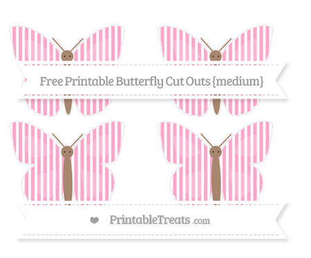 Free Carnation Pink Thin Striped Pattern Medium Butterfly Cut Outs