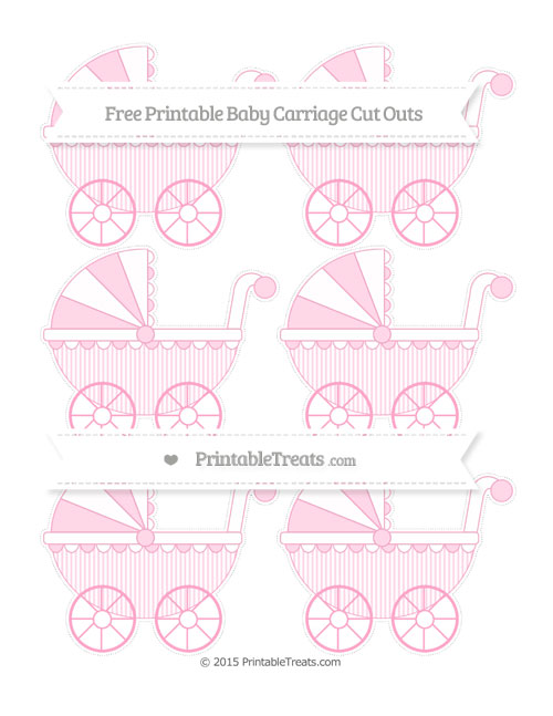 Free Carnation Pink Thin Striped Pattern Small Baby Carriage Cut Outs