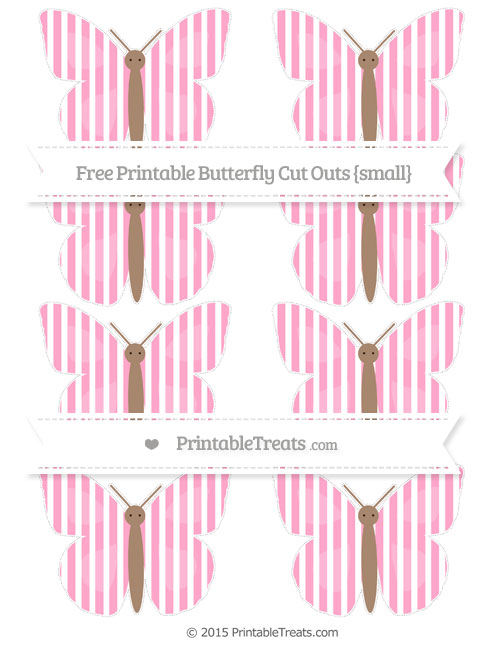 Free Carnation Pink Thin Striped Pattern Small Butterfly Cut Outs