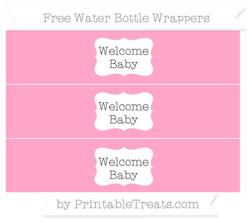 Free Carnation Pink Welcome Baby Water Bottle Wrappers