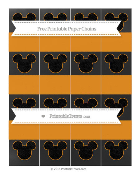 Free Carrot Orange Chalk Style Mickey Mouse Paper Chains