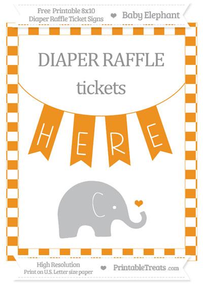 Free Carrot Orange Checker Pattern Baby Elephant 8x10 Diaper Raffle Ticket Sign