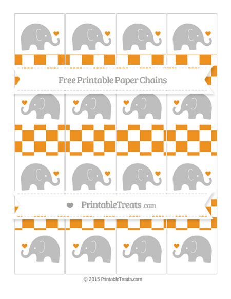Free Carrot Orange Checker Pattern Baby Elephant Paper Chains