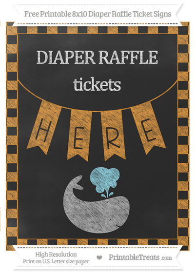 Free Carrot Orange Checker Pattern Chalk Style Whale 8x10 Diaper Raffle Ticket Sign