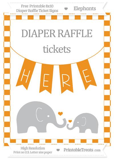 Free Carrot Orange Checker Pattern Elephant 8x10 Diaper Raffle Ticket Sign